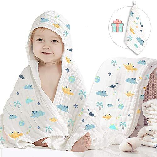 Caiery Baby Badetuch/Soft & Cozy 6 Schichten Musselin Baumwolle Babydecke,Kinderwagen Decke unisex, 100% Muslin Cotton,super saugfähig Baby Geschenk zur Geburts kleinkinder,110 X 110cm(Dinosaurier)