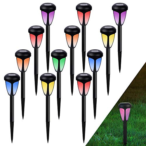 MAGGIFT 12 Pack Solar Pathway Lights, Outdoor RGB Color Changing Garden Lights, Auto Change Multicolor, IP44 Waterproof Solar Powered Landscape Lights for Lawn, Patio, Yard, Walkway, Deck, Driveway