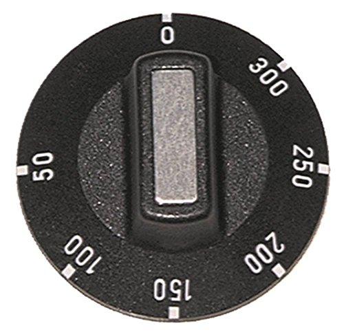 Knebel für Thermostat ø 50mm Symbol 50-300°C für Achse ø 6x4,6mm mit Abflachung oben schwarz