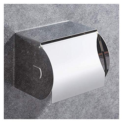 WLA Portarrollos de papel higiénico de acero inoxidable 304, dispensador de papel higiénico con estante, resistente al agua de 9,9 x 12,4 cm (color: sin perforaciones) (color: perforado)