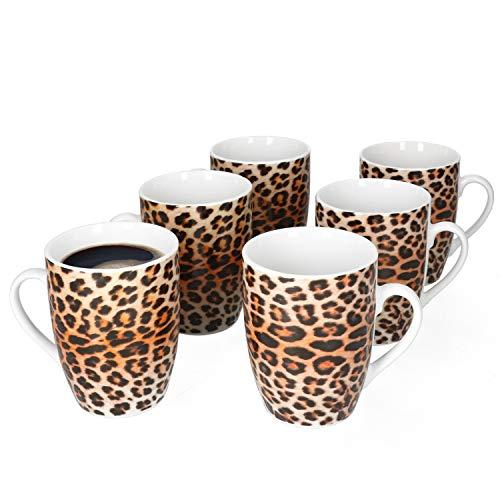 MamboCat Leopard Lampart 6er Kaffeebecher-Set I Steingut-Tassen mit extravagantem Leoparden-Muster I Kaffeetassen-Set für 6 Pers. - Kaffeepott groß mit Henkel I Animal-Print Kaffee-Tasse 6 Stück