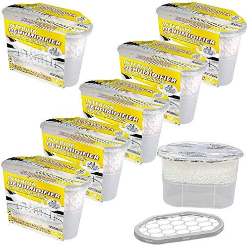 6 X Vanilla Scented Dehumidifier With Air Freshener | Damp Mould Moisture Absorber & Condensation Remover | No Power Needed | Ideal For Wardrobe, Kitchen, Caravan, Office, Garage, Bathroom & Basement