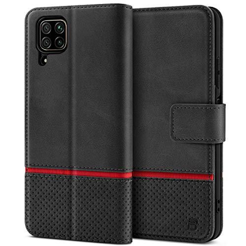 BEZ Handyhülle für Huawei P40 Lite Hülle, Huawei P40 Lite Hülle Tasche Schutzhüllen Kompatibel mit Huawei P40 Lite, Schützende Brieftasche, Kick-Ständer, Magnetverschluss, Schwarz
