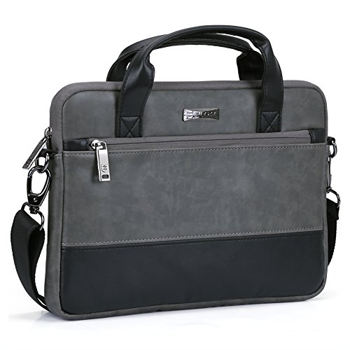 Evecase 11 11.6 inch Laptop Shoulder Bag, PU Leather Modern Business Tote Briefcase Messenger Case with Accessory Pockets (Fits Up to 11.6-inch MacBook Air, Laptop, Chromebook) - Black/Gray
