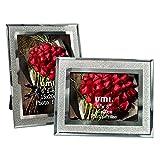Umi. by Amazon - Lot de 2 cadres photo en verre, finition pailletée, 15x20cm