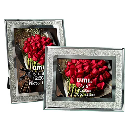 Amazon Brand - Umi Marcos de Fotos de 15x20 de Vidrio para la Mesa, Conjunto de Portafotos de Cristal, con el Borde Brillante, Set de 2