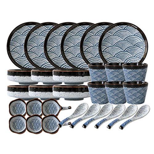 XBR Juegos de vajilla, vajilla de cerámica, vajilla de Porcelana de Estilo japonés de 30 Piezas/Juegos de Platos y Cuencos con patrón de Ondas Marinas para Restaurante y microondas