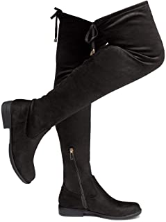 Secret Obsession Women's Suede Thigh High Stretchy Boots- Block Heel Side Zipper Back Lace Over The Knee Casual Boots