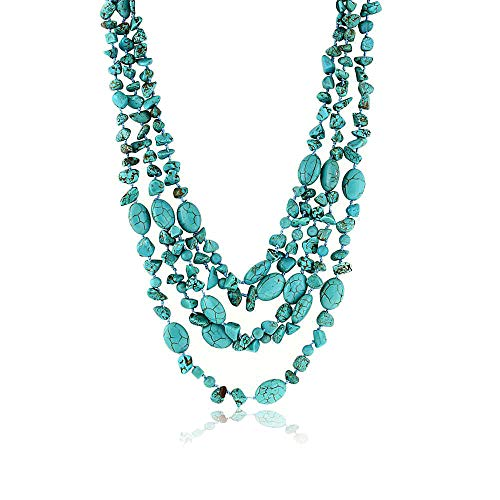 Gem Stone King 20 Inch Stunning 3 Strands Green Simulated Turquoise Necklace with Toggle Clasp