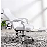 N&O Renovation House Ergonomic Leather Computer Desk Chair Simple Gaming Chair with Swivel Backrest Stool (Color : Without footrest Size : White)