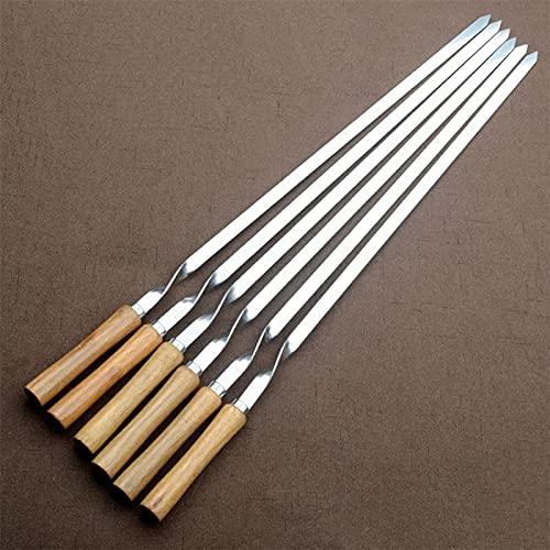 Palo de barbacoa 6 unids pinchos de barbacoa plana 55 cm de acero inoxidable mango de madera BBQ agujas palancas de asado tesalos de asado para acampar Resistencia a altas temperaturas