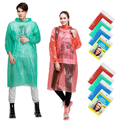 Rain Ponchos Family Pack, 8 Pack Disposable Extra Thick Emergency Rain Ponchos, Fits Adults and Kids, Assorted Colors, Perfect for Theme Park, Hiking, Disney, Camping Gear, Fishing