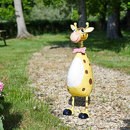 HomeZone Quirky Metal Garden Polka Pets Animal Sculptures Lawn Statues Colourful Home Decor Garden Ornaments Choose From 5 Designs (George Giraffe)