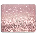 Rose Gold Rainbow Glitter Gaming Mouse Pad Custom Design,Fashion Non-Slip Rubber Square Mousepad for Gift Support Computers Laptop