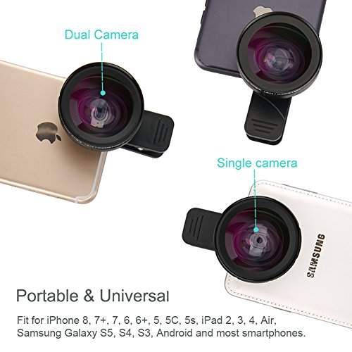 ATFUNG iPhone Camera Lens, Wide Angle Lens,Fisheye Lens Macro Cell Phone Camera Lens Kit for iPhone Samsung Android Smartphones (2 in 1)
