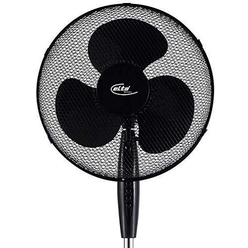 Elta Ventilator mit Standfuß und Oszillation (105 cm - 122 cm höhenverstellbar) | Luftkühler | Lüfter | 3 Geschwindigkeitsstufen | geräuscharm | Ø 40 cm | 45 Watt | 1,5 m Kabellänge | schwarz