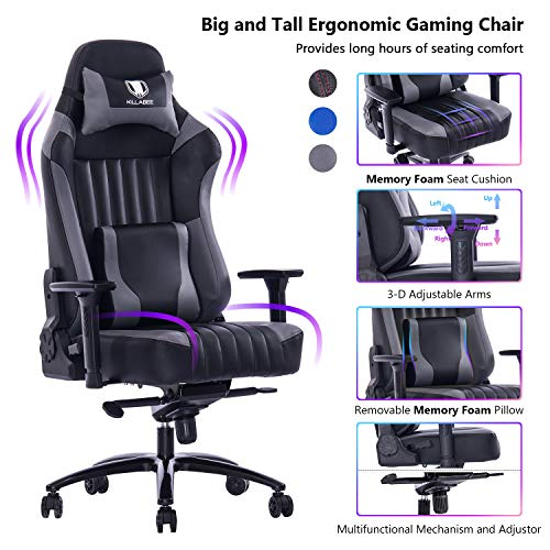 VON RACER Big and Tall 400lb Memory Foam Gaming Chair-Adjustable Tilt,...