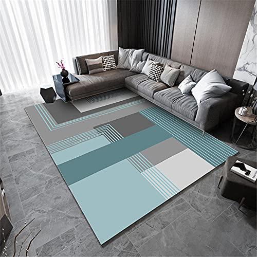 Alfombra Decoracion Alfombra habitacion niña Alfombra de sofá de Sala de Estar de diseño geométrico a Rayas Blanco Gris Azul recibidor Moderno alfombras Sofas de Salon Alfombra 80*120cm
