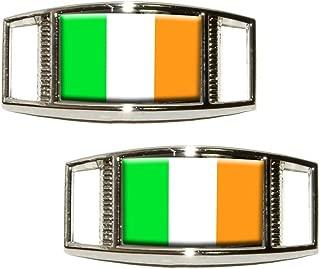 Ireland Irish Flag Shoe Sneaker Shoelace Charm Rectangular Decoration - Set of 2