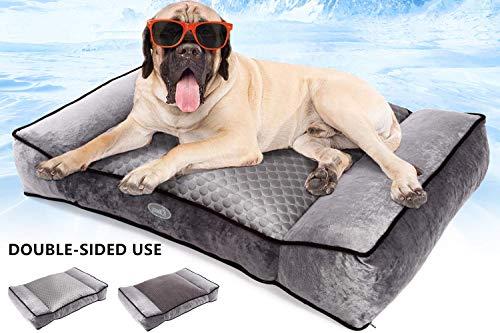 Pecute Plüsch + Ice Silk Doppelseitiges Hundebett groß (102 x 69 x 20 cm) Haustier Hundebett Grosse Hunde Vier Jahreszeiten universal waschbar Abnehmbar für mittlere und große Haustiere Grau