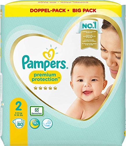 Pampers Premium Protection - Pañales (talla 2, 4-8 kg, 2 unidades)