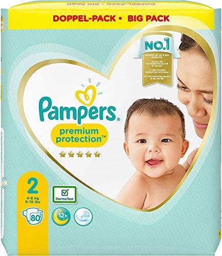 Pampers Tamaño 2 Premium Protection Baby Pañales, 80 unidades, más suave comodidad y protección (4-8 kg).