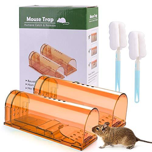 Ulikey 2PCS Trampa para Ratas, Trampa para Ratones Vivas Reutilizable Humanitario, Trampas Ratas para Cocina Jardín Hogar Cocina Oficinas Garaje (2pcs Marrón)