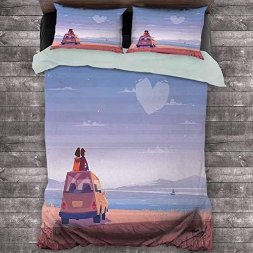 Romántico paquete de 3 (1 funda de edredón y 2 fundas de almohada) Dos amantes felices sentados en su coche observando nubes románticas diseño paisaje marino de poliéster (dos camas) multicolor