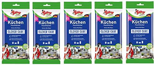 Poliboy - Küchen Feuchttücher - Kraftvolle & gründliche Reinigung für alle abwaschbaren Oberflächen - 5er Pack - 5x24 Tücher - Made in Germany