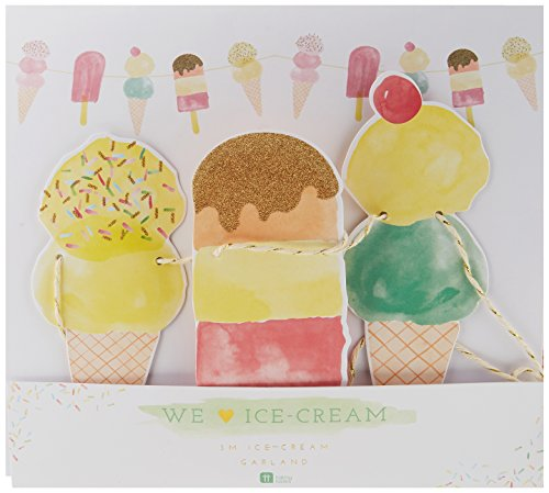 Talking Tables We Heart Ice Cream Hanging Decoration Garland for a Summer Party or Kids Birthday Party, Multicolour (3m)