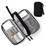 Electronic Organizer Pouch Bag, 3 Compartments Travel Cable Organizer Bag Pouch Portable Electronic Phone Accessories Storage Multifunctional Case for Cable, Cord, Charger, Hard Drive, Earphone(Black)