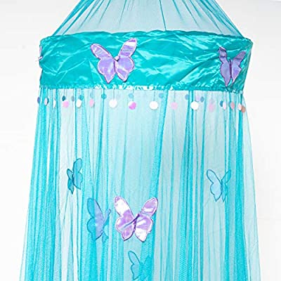 OctoRose Butterfly Bed Canopy Mosquito NET Crib Twin Full Queen King (Teal Blue) by OctoRose