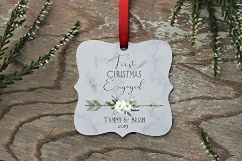 Lplpol Engagement Ornament 1st Christmas Bauble 1st Christmas Engaged Personalized Ornament Christmas Ornament Christmas 2020 2019