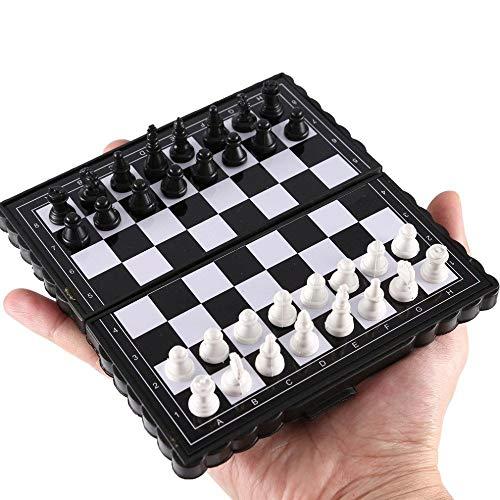 NL 1 Juego De Ajedrez Plegable Mini Magnética De Plástico Tablero De Ajedrez Juego De Mesa De 13 Cm X 14 Cm Portátil