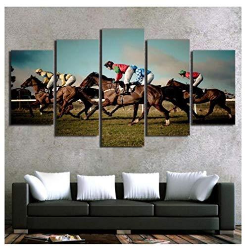 KPWAN canvasdruk 5 panelen Hd Print paardenrace spel afbeelding muurkunst modulaire poster wooncultuur canvas schilderij (A) mit Rahmen