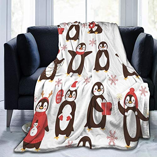 Samantabhadra with Christmas Penguin Gifts Ice-Cream Print Velvet Plush Throw Blanket(50'x40' for Kids) Super Soft and Cozy Fleece Blanket Perfect for Couch Sofa Or Bed