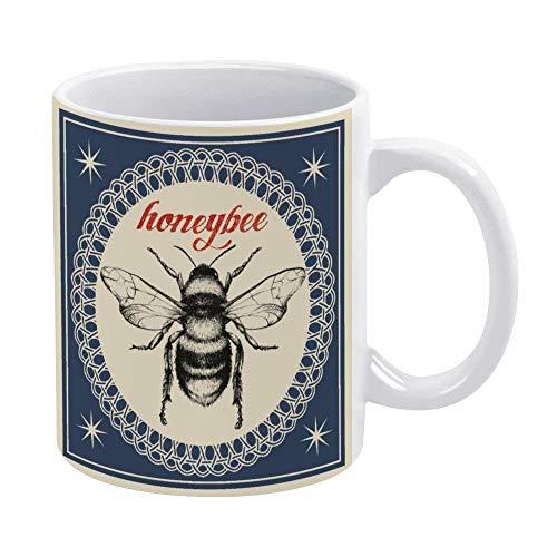 N\A Taza de café de 11 oz, Tazas de cerámica Blanca, Taza de Abeja, Taza de té para Oficina y hogar