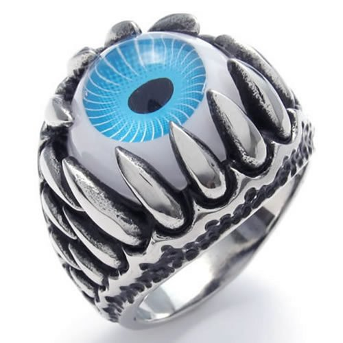 KONOV Stainless Steel Gothic Dragon Claw Devil Eye Biker Men's Ring, Blue - Size 11