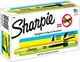 Sharpie Accent Retractable Highlighters, Chisel Tip, Fluorescent Yellow, Box of 12