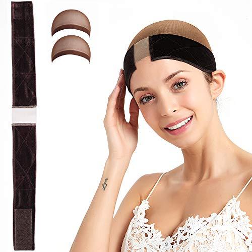 Bandeau perruque en velours pour perruque en dentelle et frontale,avec 2 Pièces Cap de Perruque Bonnet Nylon Wig Cap pour Femmes Et Hommes- Flexible -