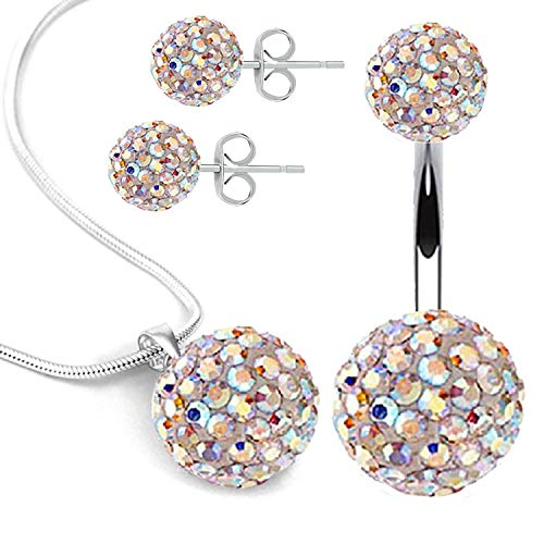 BodyJ4You Belly Button Ring Necklace Earrings Gift Set 14G Bar Aurora CZ...