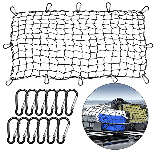 Roof Rack Cargo Net for Cars & SUVs, Highly Stretchable Bungee Net, Adjustable Auto Roof Luggage Carrier Cargo Net with 12 Metal Carabiners, Ideal for SUVs Trucks Vans and More