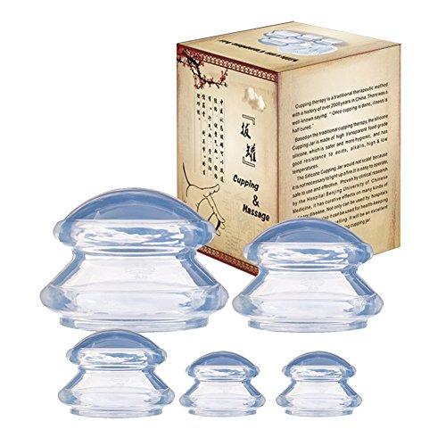 Schröpfglas Silikon Schröpfen Therapie Set Cellulite Entferner Massagegerät 5pcs Tassen Schröpfgläser Anti Aging Anti Cellulite Cup für Gesicht und ganzen Körper