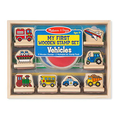 Melissa & Doug First Wooden Stamp Set – Vehicles