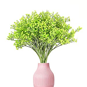 Yunuo 12PCS Silk Artificial Baby's Breath Wedding Home Decor Valentine's Gift Spring Fake Flowers (Green)