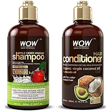 Beauty Shopping WOW Apple Cider Vinegar Shampoo & Hair Conditioner Set – (2 x 16.9 Fl Oz / 500mL) – Increase Gloss, Hydration, Shine…