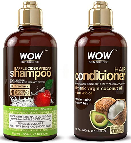 WOW Apple Cider Vinegar Shampoo amp Hair Conditioner Set  2 x 169 Fl Oz / 500mL  Increase Gloss Hydration Shine  Reduce Itchy Scalp Dandruff amp Frizz  No Parabens or Sulfates  All Hair Types