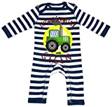 HARIZ Baby Strampler Streifen Tausche Schwester Gegen Traktor Bagger Eisenbahn Inkl. Geschenk Karte Navy Blau/Washed Weiß 3-6 Monate
