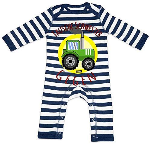 HARIZ Baby Strampler Streifen Tausche Schwester Gegen Traktor Bagger Eisenbahn Inkl. Geschenk Karte Navy Blau/Washed Weiß 6-12 Monate
