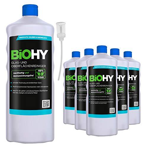 BiOHY Limpia cristales y superficies (6 botellas de 1 litro) + Dosificador...